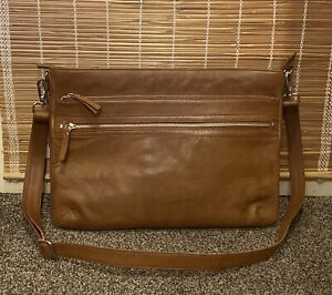 """Re:Designed By Dixie Leather Laptop 15"""" Brief Cross Body Bag Brown New RRP £210"""