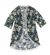 Monnalisa Girl Size 8 Pom Pom Green Camouflage Beach Dress 100% Cotton NWT