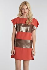 Warehouse Spotlight Tunic Mini Dress Orange & Gold Sequin Stripe Size 8