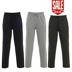 Men's Casual Plain Joggers Bottoms Open Hem Sweat Pants Pockets Trousers