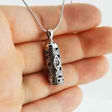 Mezuzah with Star of David Necklace 925 Sterling Silver Jewish Pendant Gift SN
