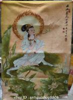 """36"""" Tibet Silk Satin Kwan-yin Guan Yin Godess Louts Flower Tangka Painting Mural"""