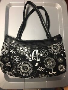 Thirty One 31 Black White Floral Skirt Purse Hand Bag Monogrammed A