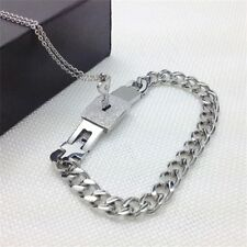 Key & Lock And Chain Couples Bracelet Necklace Couples Jewelry Titanium Steel