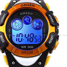 OHSEN Mens Light Day Alarm Digital Military Waterproof Sport Quartz Watch Yellow