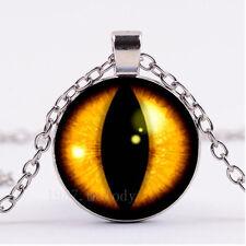 NEW Cabochon Glass necklace Silver/Bronze/Black pendant( Dragons Eye