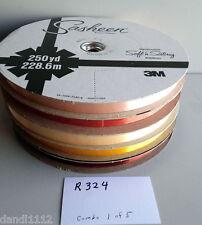 "Vintage Sasheen Ribbon 3M 5 Rolls 5/8"" Almond Peach Russet Golden R324"
