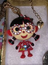Betsey Johnson Necklace ASIAN Girl RED Glasses Smart Gold Crystals Gift Box