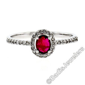 Petite Solid 14k White Gold 0.60ctw Oval Ruby Solitaire Round Diamond Halo Ring