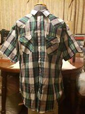 NWOT Elly Cattleman XL Short Sleeve Shirt Free Ship Plaid Western Cowboy Green