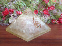 Rose Quartz Orgone Pyramid with crystal point pencil for Orgone
