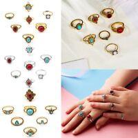 Boho 7 Pcs set Vintage Stone Tribal Finger Rings Set Knuckle Women Jewellery Hot