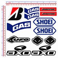 Gas ufo shoei bridgestone axo sticker adesivi sponsor moto casco pvc 13 pz