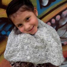 Alpaca Infinity Scarf – Girls Soft Warm Gray Winter Wool Neck Warmer