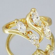 Anillo circonitas talla oval con oro amarillo 18k gf talla 6 usa