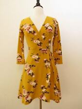 Anthropologie Wrap Dress New Floral Faux Tie Size Large Boho Spring Mustard