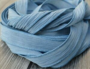 Hand Dyed Silk Ribbons Blue Gray Qty 5 JamnGlass Crinkle Dusty Pastel Strings