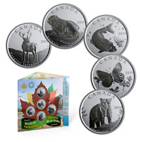 2019 Canada Wildlife Treasures 5 x 50 cent set - uncirculated and sealed
