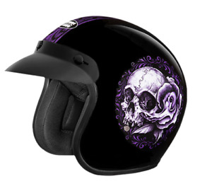 "New STUDDS ""Floral Skull"" Open Face Helmet Black Colour"