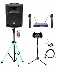 """Rockville 8"""" Karaoke Machine System w/LED Stand+Tablet Stand+Dual Wireless Mics"""