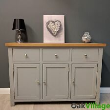 Greymore Painted Large Sideboard Grey Oak / Oak Cupboard / Solid Wood / New