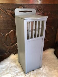 French Cabinet Painted Grey Slim Storage Linen Basket Cupboard Unusual Project