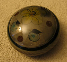 Vintage Mexican Handpainted Olive Green Brown Floral Ceramic Jewelry Trinket Box
