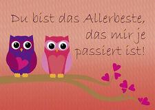2 Postkarten Eulen Grußkarte Du bist das Allerbeste, verliebte Eulen rote Herzen