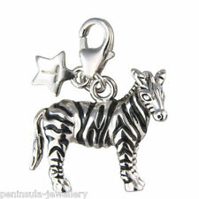 Tingle Zebra clip on Sterling Silver Charm with Gift Box and Bag SCH158