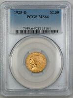 1925-D Indian $2.50 Quarter Eagle Gold Coin PCGS MS-64 GK