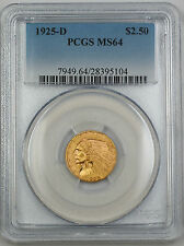 1925-D Indian $2.50 Quarter Eagle Gold Coin PCGS MS-64 GK