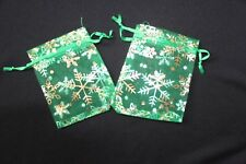 20 X Verde Navidad Copo De Nieve Organza favor bolsas de 10 cm X 7.5 Cm