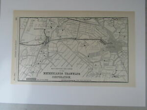 Original Vintage Map of the Netherlands Tramways Corporation from 1904