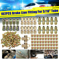 182 pcs Brake Line Tube Fitting Nuts Kit Female Male For Inverted Flares on 3/16