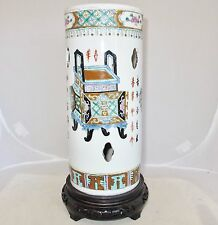 """11"""" Antique Chinese Famille Rose Hat Stand Vase w/ Censers, Calligraphy & Stand"""