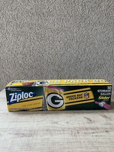 "NFL GREEN BAY Ziploc Slider Freezer Bags (1 Box Of 20) 1 Gallon ""GO PACK GO"""