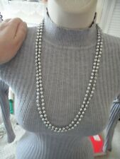 Silver Tone Pop Over Fashion Costume Jewellery Long Necklace