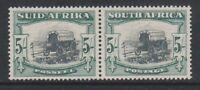 South Africa - 1933, 5s Blk & Green - Horizontal Pair - Wmk Inv - L/M - SG 64aw