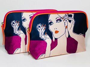 2pc Estée Lauder Cosmetic Makeup Bag Satin (blue, purple, orange)