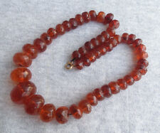 Antique Old Natural Baltic Honey Cognac Faceted Amber Beads Necklace 32 grams