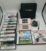 Nintendo DS Lite Rose PINK Console & LOT of 13 Games bundle Super Mario kart