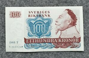 SWEDEN 100 KRONOR 1968 (* STAR) REPLACEMENT UNC