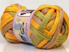 BALLERINA Frilly Acrylic Scarf YARN - YELLOW LATTE Lime GREEN - Per Ball