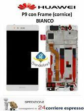 TOUCH SCREEN VETRO + DISPLAY LCD PER HUAWEI P9 EVA-L09 BIANCO FRAME SCHERMO
