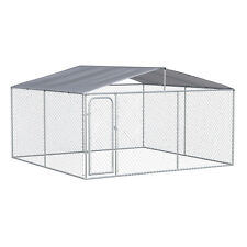 PawHut Galvanized Steel Dog Fence w/ Lockable Doors and Cover for Backyard