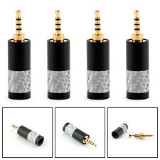 4PCS 2.5mm Silver Carbon Fiber 4 Pole Audio Plug Fit DIY Earphone Black