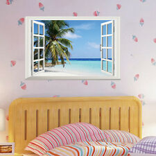 3D Window Beach Sea View Wall Stickers Art Decals Removable Home Decor Mural