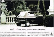 PUBLICITE ADVERTISING 095  1992  RENAULT CLIO ELLE  (2p) par D ISSEMANN