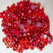 RED CHUNKY BEAD MIX, 200+ BUBBLEGUM BEADS, RED CHUNKY BEADS, DELUXE MIX!