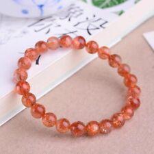 8mm Natural Gold Strawberry Quartz Sunstone Orange Round Beads Bracelet AAAA
